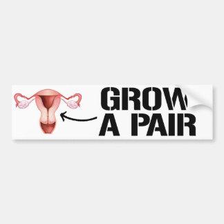 Grow a pair of ovaries - Feminist Bumper Sticker -