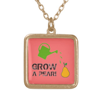 Grow a Pear! funny rebus (Deep Pink -more colors) Square Pendant Necklace