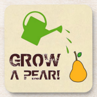 Grow a Pear! funny rebus humor (Beige-more colors) Coaster