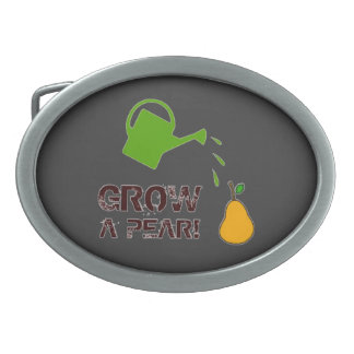 Grow a Pear! funny rebus humor (- many colors) Oval Belt Buckle