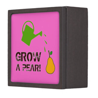 Grow a Pear! funny rebus humor (-many more colors) Premium Jewelry Boxes