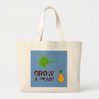 Grow a Pear! funny rebus humor (-more colors) Large Tote Bag