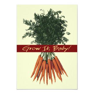 """Grow It Baby! - Carrots Invitation 5"""" X 7"""" Invitation Card"""