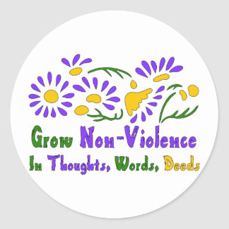 Grow Non-Violence Classic Round Sticker