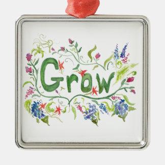 Grow Square Metal Christmas Ornament