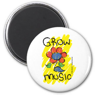 Grow Some Music. Cool Musical Flower Design 2 Inch Round Magnet