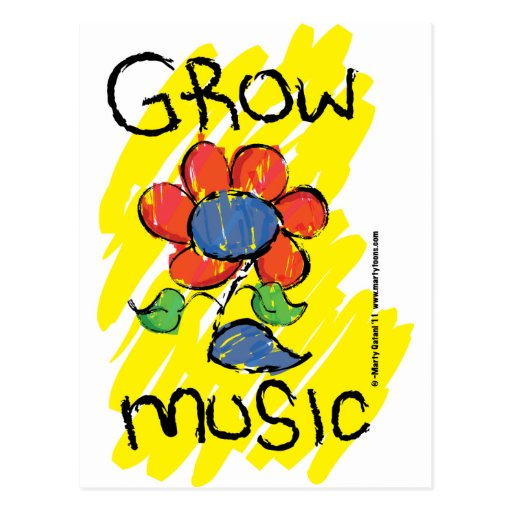 Grow Some Music. Cool Musical Flower Design Postcards
