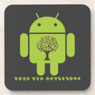 Grow The Ecosystem (Bug Droid Brown Tree) Beverage Coaster
