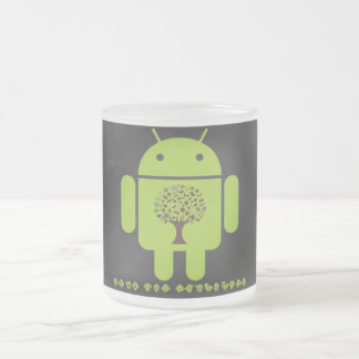 Grow The Ecosystem (Bug Droid Brown Tree) Frosted Glass Coffee Mug