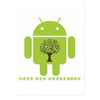 Grow The Ecosystem (Bug Droid Brown Tree) Postcard