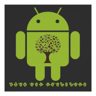 Grow The Ecosystem (Bug Droid Brown Tree) Poster