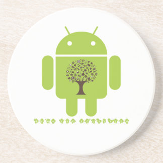 Grow The Ecosystem (Bug Droid Brown Tree) Sandstone Coaster