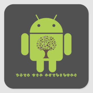 Grow The Ecosystem (Bug Droid Brown Tree) Square Sticker