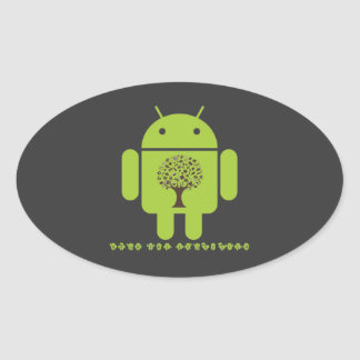 Grow The Ecosystem (Bug Droid Brown Tree) Oval Stickers