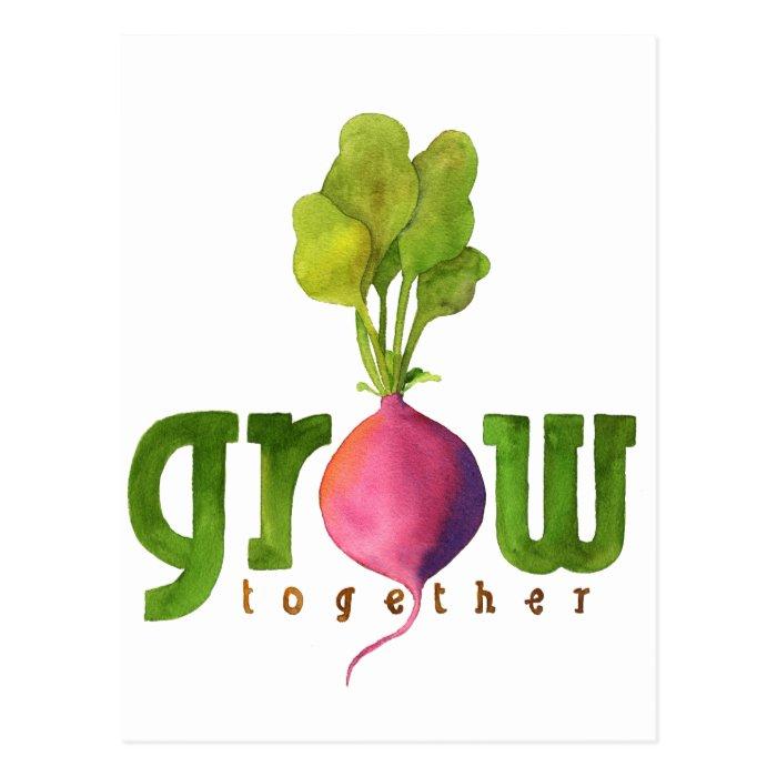 Grow Together Radish Postcard