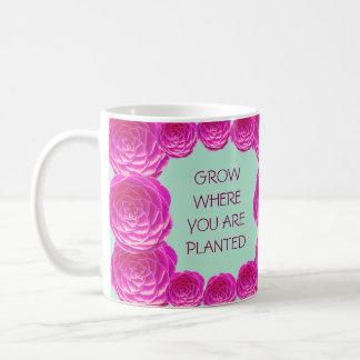 Grow Where You Are Pink Rose Classic White Coffee Mug