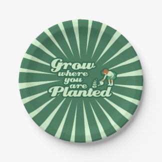 Grow where you are planted paper plate