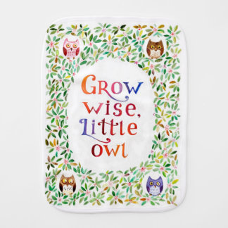Grow wise little owl watercolor art baby burp cloth