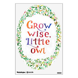 Grow wise little owl  Watercolor painting Wall Sticker