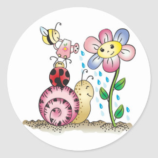 Grow with me! Grandit avec moi! Round Stickers