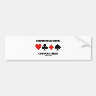 Grow Your Brain Strong Play Duplicate Bridge Bumper Sticker