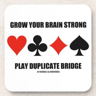 Grow Your Brain Strong Play Duplicate Bridge Coasters