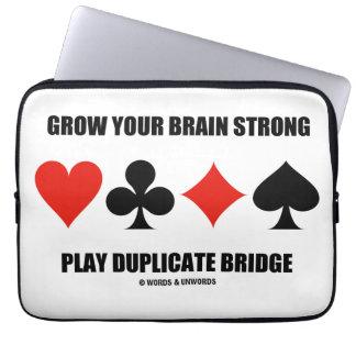 Grow Your Brain Strong Play Duplicate Bridge Laptop Sleeves