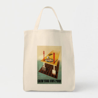 Grow your own food urban farming grocery tote bag