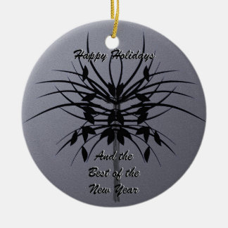 Growing - Abstract Design in Black and Silver Grey Ceramic Ornament