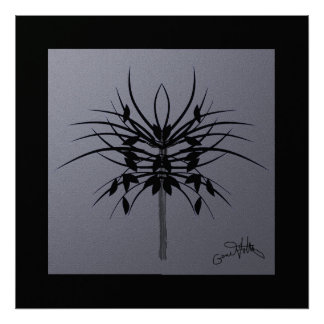 Growing Black on Silver Grey Abstract Poster