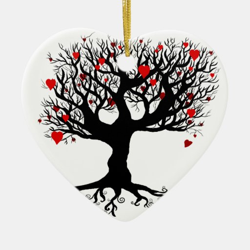 Growing Love Double-Sided Heart Ceramic Christmas Ornament