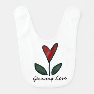 Growing Love Red Flower Heart Baby Gift G004 Bib