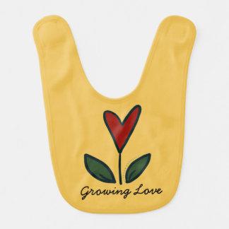 Growing Love Red Flower Heart Baby Gift G005 Baby Bib