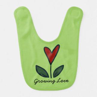 Growing Love Red Flower Heart Baby Gift G006 Bib