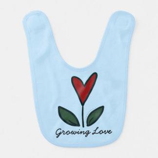 Growing Love Red Flower Heart Baby Gift G007 Baby Bib