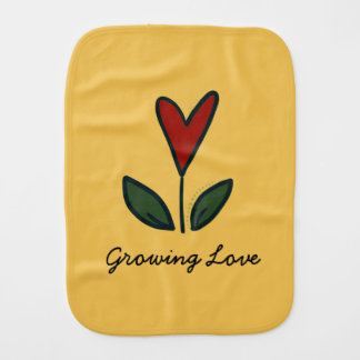 Growing Love Red Flower Heart Baby Gift G009 Burp Cloth