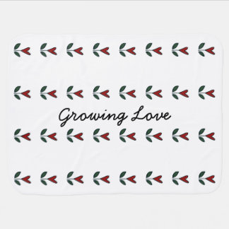 Growing Love Red Flower Heart Baby Gift G010 Baby Blankets