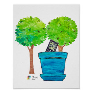 Growing Money Trees Art Poster - Funny Office Art