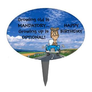 growing old mandatory birthday cake topper