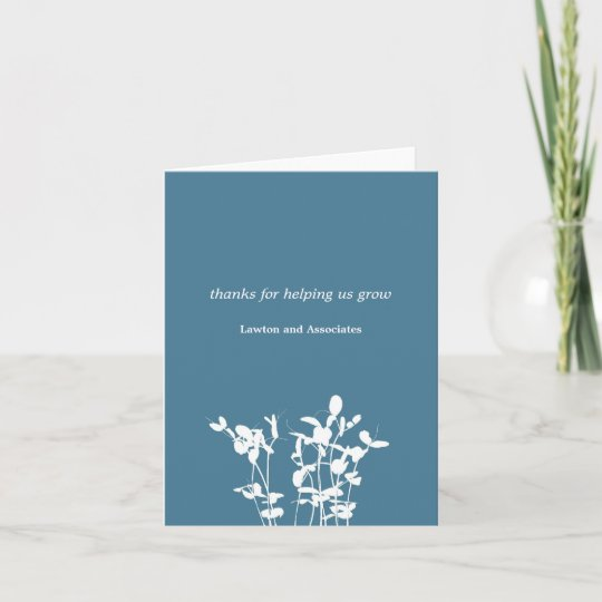 Growing Plant Blue Business Modern Thank You Card Zazzle Com