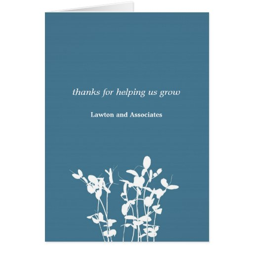 Growing plant blue business modern thank you card zazzle - Successful flower growing business ...