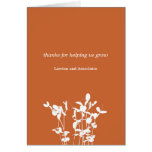 Growing plant burnt orange business thank you card