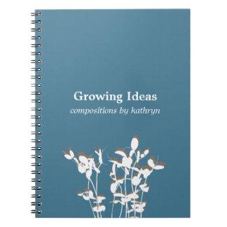 Growing plant modern blue idea notes journal spiral notebooks
