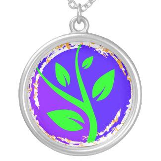 Growing Tree Grunge Tattoo Round Pendant Necklace