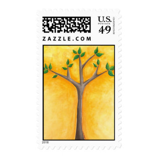 Growing Tree with Swirls postage stamps