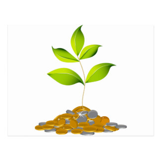 Growing Wealth Plant Icon Postcard