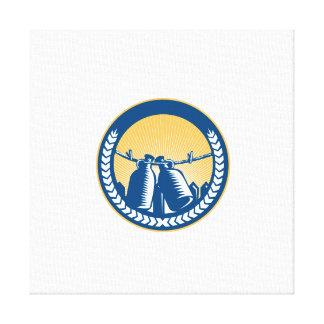 Growler Hanging Clothesline Fence Circle Woodcut Canvas Print