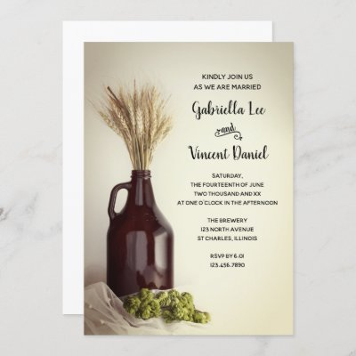 Growler, Hops and Wheat Brewery Wedding Invitation