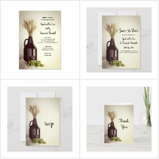 Growler, Hops and Wheat Brewery Wedding Stationery
