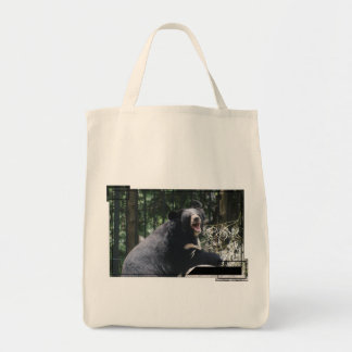 Growling Bear Grocery Tote Canvas Bag